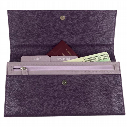 Leather Travel Wallet -  Violet & Lavender